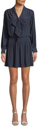 Ramy Brook Winslow Tie-Neck Long-Sleeve Short Dress