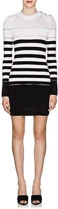 Balmain Women's Sheer-Striped Mixed-Knit Dress - White