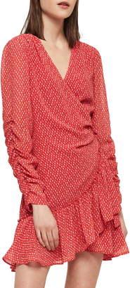 AllSaints Flores Hearts Ruffle Wrap Dress