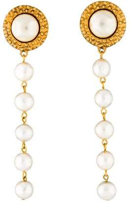 Chanel Faux Pearl Long Drop Earrings