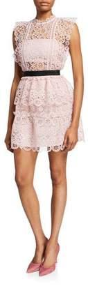 Self-Portrait Circle Floral Lace Tiered Mini Dress
