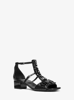 Michael Kors Cecile Crystal Embellished Snakeskin Sandal