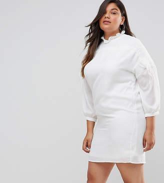 Fashion Union Plus Long Sleeve Smock Dress With Ribbon Tie Gathers