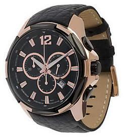 Bronzo Italia Oversized Chronograph Leather Str ap Watch