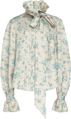 Marc Jacobs Tie-Detailed Floral-Print Silk Shirt Size: 0