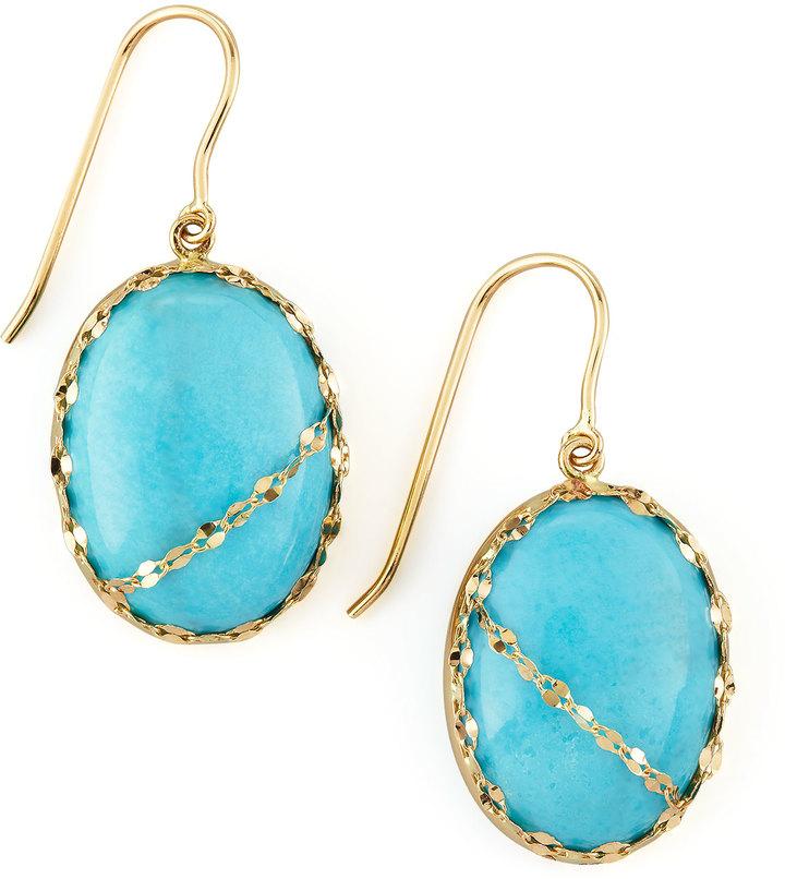 Lana Turquoise Chain-Detail Drop Earrings