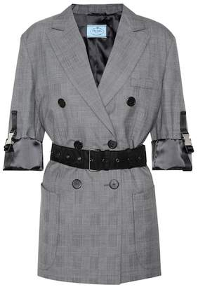Prada Belted checked wool blazer