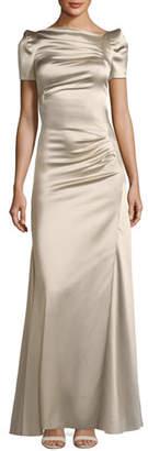 Talbot Runhof Short-Sleeve Slit-Front Satin Evening Gown