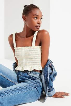 Urban Outfitters Smocked Button-Down Peplum Top