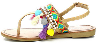 Refresh Kimmy Embroidered Pompom Sandal $35.99 thestylecure.com