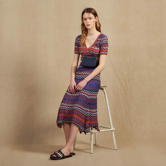 Sandro Long Knit Skirt With Zigzag Print