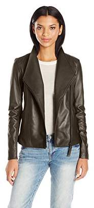 Mackage Women's Cleo-l Tailored Fit Leathe Jacket with Lapel Collar and Nickel Hardwear