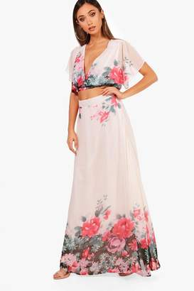 boohoo Woven Floral Tie Crop & Maxi Skirt Co-Ord