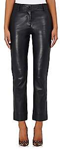 Barneys New York Women's Lambskin Straight-Leg Trousers - Black