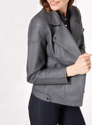 Tu Clothing Grey Faux Leather Jacket