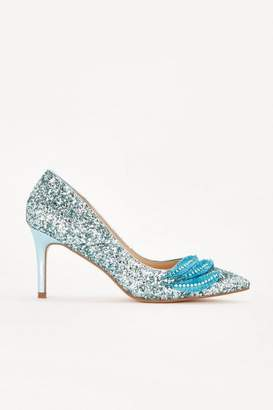 Wallis Blue Glitter Trim Court Heel