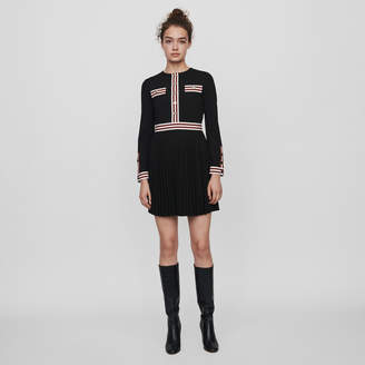 Maje Pleated dress with contrasting stripes
