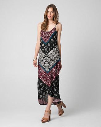 Le Château Printed Challis Scoop Neck Maxi Dress