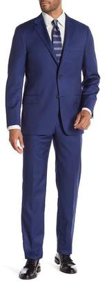 Hickey Freeman Blue Solid Two Button Notch Lapel Wool Classic Fit Suit
