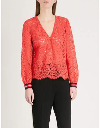 Claudie Pierlot V-neck floral-lace top