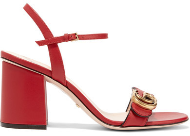 Gucci - Embellished Leather Sandals - Red