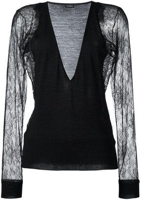 La Perla 'Leisuring' lace sleeve jumper $1,201 thestylecure.com