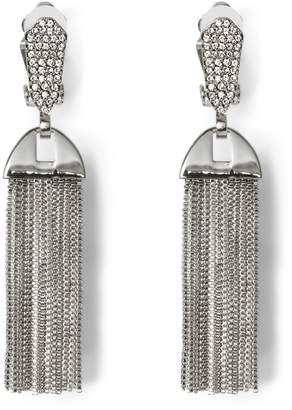 Vince Camuto Silvertone Pave Tassel Clip-on Earrings