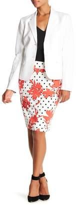 Nine West Floral Polka Dot Pencil Skirt