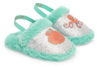 WELLIEWISHERS BY AMERICAN GIRL Camille Faux Fur Glitter Strap Slipper (Baby & Toddler)