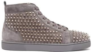 Christian Louboutin Louis Spike Embellished High Top Trainers - Mens - Dark Blue