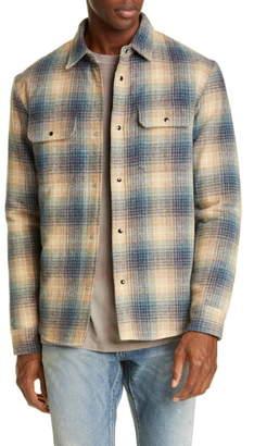 John Elliott Jupiter Plaid Snap-Up Wool Blend Shirt