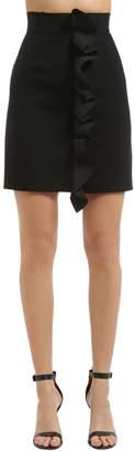MSGM Double Crepe Cady Mini Skirt W/ Ruffles