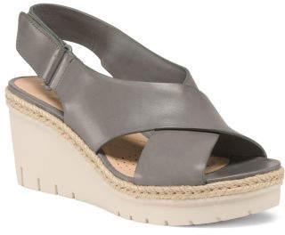 67f858ca9cfe at TJ Maxx · Premium Leather Comfort Wedge Sandals