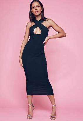 Missguided Navy Ribbed Cross Front Maxi Dress