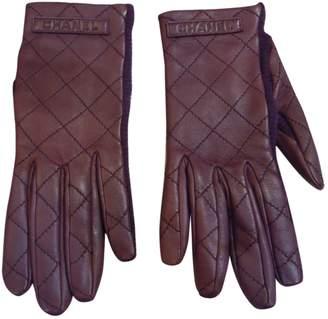 Chanel Burgundy Leather Gloves