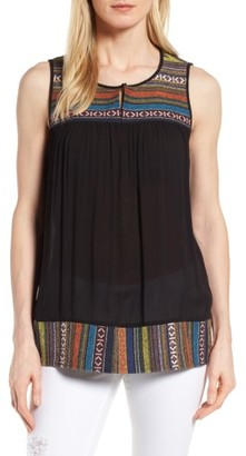 Women's Pleione Embroidered Mixed Media Top $59 thestylecure.com