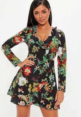 Missguided Black Dark Floral Tie Waist Mini Dress