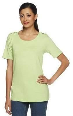 Denim & Co. Short Sleeve Lace Up Shoulder Top