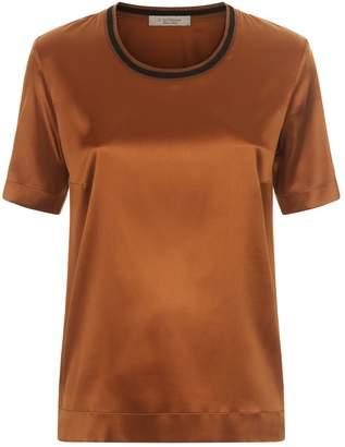 D-Exterior D.Exterior Satin Stripe Neck T-Shirt