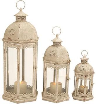 DecMode Decmode Metal and Glass Lantern, Set of 3, Ivory