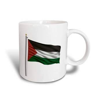 3dRose Flag of Palestine on a flag pole over white Palestinian, Ceramic Mug, 15-ounce