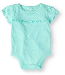 Garanimals Baby Girl Short Sleeve Solid Pointelle Bodysuit
