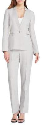 Tahari Arthur S. Levine One Button Rounded Starneck End On End Jacket and Pant Suit