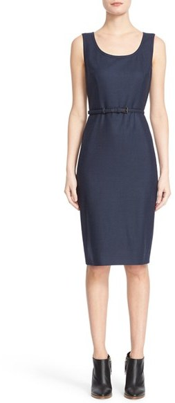 Max Mara Women's Max Mara 'Vodka' Sleeveless Wool Foule Sheath Dress