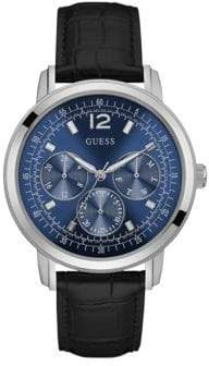 GUESS Embossed Leather Chronograph Watch