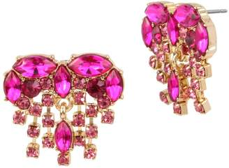 Betsey Johnson Achy Breaky Hearts Crystal Fringe Button Earrings