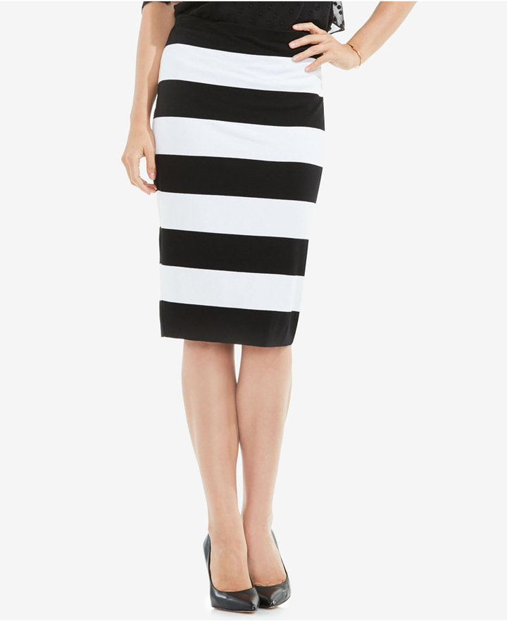 vince camuto striped pencil skirt shopstyle mid length