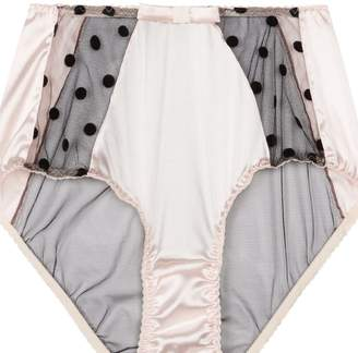 Sarah Brown High-Waisted Pink Stretch-Silk With Black Polka Dot Tulle Briefs