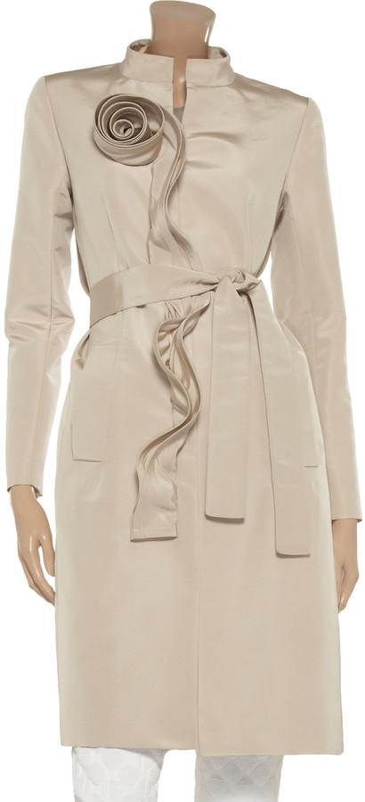 Oscar de la Renta for THE OUTNET Ruffle-trimmed silk-sateen coat