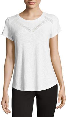 Liz Claiborne Short Sleeve Lace Trim T-Shirt-Womens